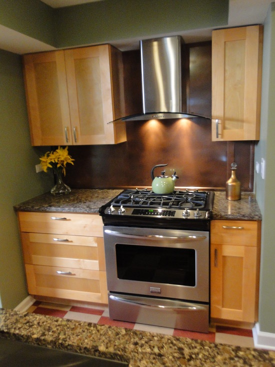kitchen maple shaker cabinets with stainless steel appliances - Copper Kitchen Backsplash Ideas