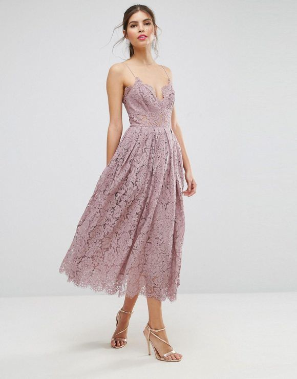 Lace Cami Midi Prom Dress by ASOS. Midi dress by ASOS Collection, Lined woven lace, Fully lined, V-neck, Cami straps, Zip-back closure, Regular fit - tr...