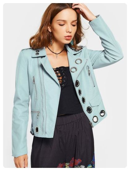 6298702c624b91 Hollow Out Faux Leather Jacket (Light blue) | Tops | Black faux ...