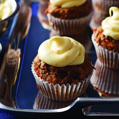 Make these nutritious, Gluten-free carrot cupcakes with brown-rice flour, cinnamon and walnuts. Find more fun cupcake recipes at Chatelaine.com.
