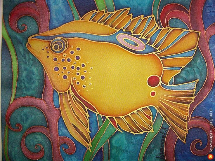 Рыбка 2 - батик, картины с изображением животных. МегаГрад - главный ресурс мастеров и художников
