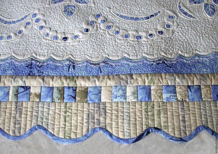 Купить Дорожка на кровать ришелье на голубом - Вышивка ришелье, лоскутное шитье, квилтинг, кружева для спальни