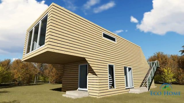 4 x 40ft Shipping containers used to make a double story Cantilever Home.
