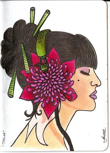 """talia"" marker illustration, waratah flower"