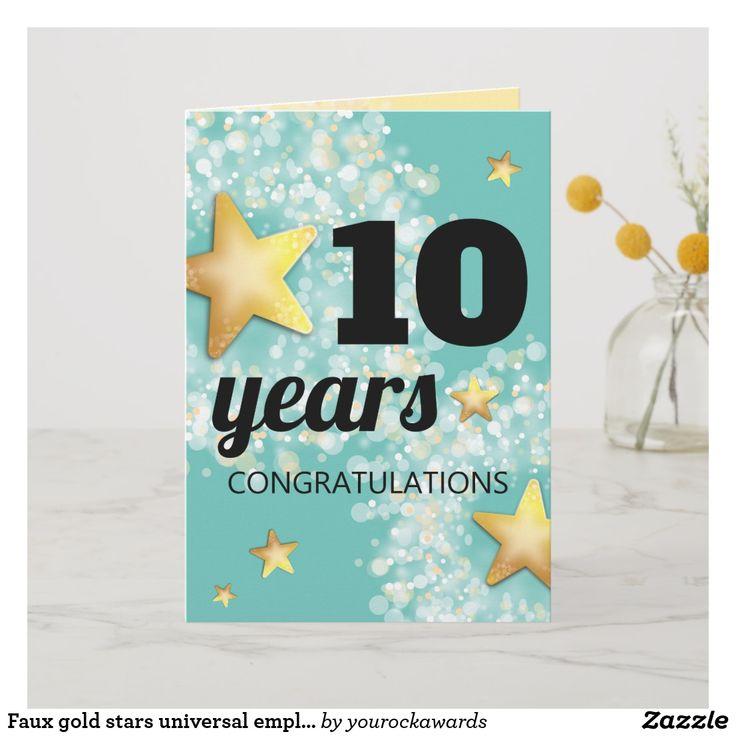 Faux gold stars universal employee anniversary card