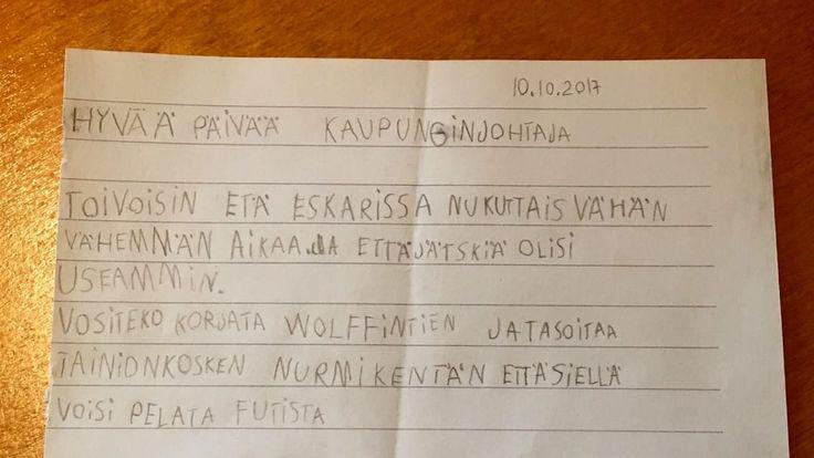 Eskarilaisen kirje Imatran kaupunginjohtajalle.
