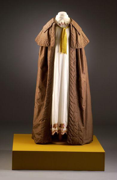 Ladies Dark Brown Cloak over White Dress, Silk. English, 1813-1817.