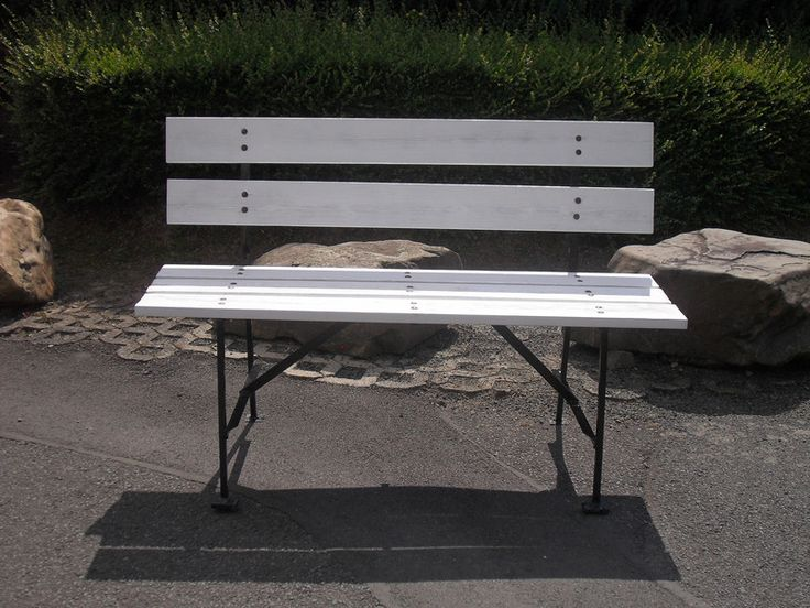 Bänke - Bank Sitzbank Gartenbank Weiß Eisen Holz Shabby - ein Designerstück von Die-Ideenschmiede bei DaWanda
