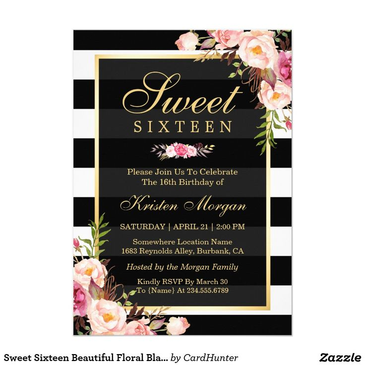 11 best FLORAL SWEET SIXTEEN Invitations images – Sweet Sixteen Invitation Cards