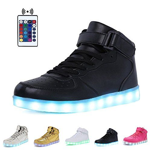 High Top Velcro LED Light Up Shoes 7 Colors USB Flashing Charging Walking Sneakers For Men Women Boots With Remote Control