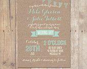 Items op Etsy die op Rustic Kraft Wedding Invitation Mint Peach Bridal Shower Printable or Professionally Printed Cards 5x7 lijken