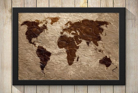 Rustic Tapestry World Map Art Print Wall Poster by BubingaArtistry