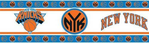 """NBA New York Knicks Wall Border by Sports Coverage. $19.97. NBA New York Knicks Wall Border. Add the perfect finishing touch to your team-themed bedroom decor with this Sports Coverage® NBA team wall banner. The border boasts a peel-and-stick feature that allows for easy application and removal. The 15' x 5"""" border comes boldly adorned with the team colors, logo, and name."""