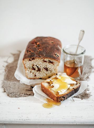 ♥ simle breakfast- cinnamon raisin bread with butter topped with honey