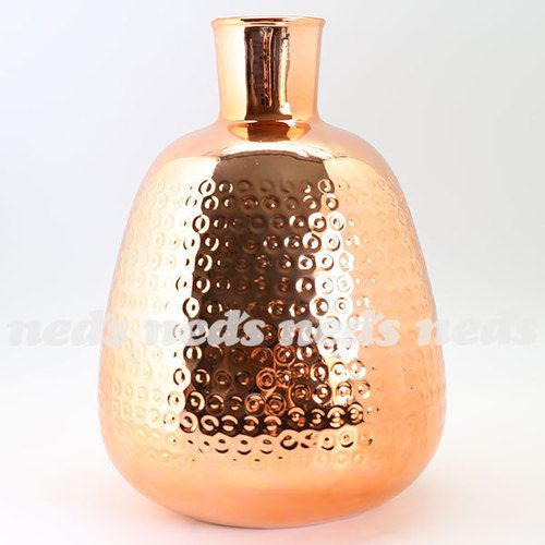 Copper Coloured Vase - Bulb Design