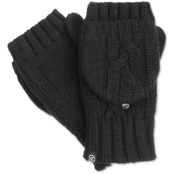 Isotoner Signature Chunky Solid Flip Top Mittens ($19) ❤ liked on Polyvore featuring accessories, gloves, black, isotoner, black mittens, cable knit mittens, isotoner gloves and isotoner mittens