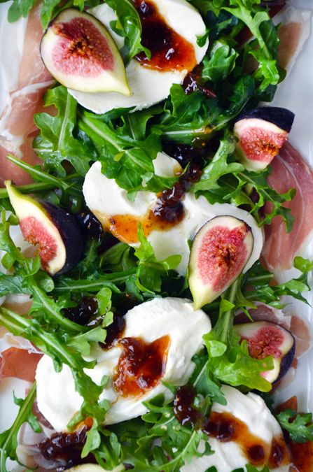 Fig, Prosciutto and Burrata Cheese Salad | www.justataste.com | #color #composition #foodphotography