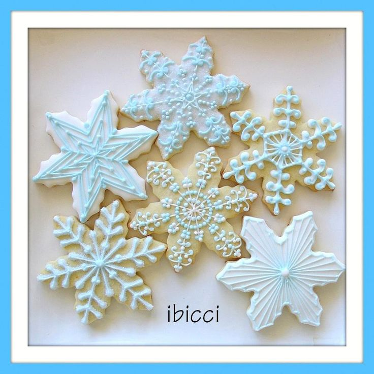 Custom decorated NZ cookies - Snowflakes for 30yo nieces birthday    www.facebook.com/ibiccinz
