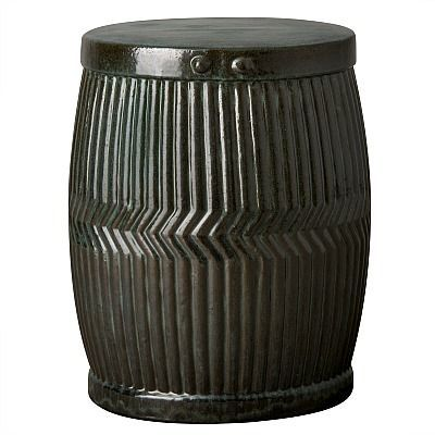 Emissary delivers the finishing touch to transitional indoor or outdoor spaces as seating or side table with the Dolly Tub Garden Stool. This green kelp-glazed, ceramic accent adds chic, contemporary style to your living room, outdoor patio, sunroom or bedroom.