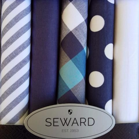 SEWARD     Men's Executive Boxed Handkerchiefs set of 5 - Navy Graphics