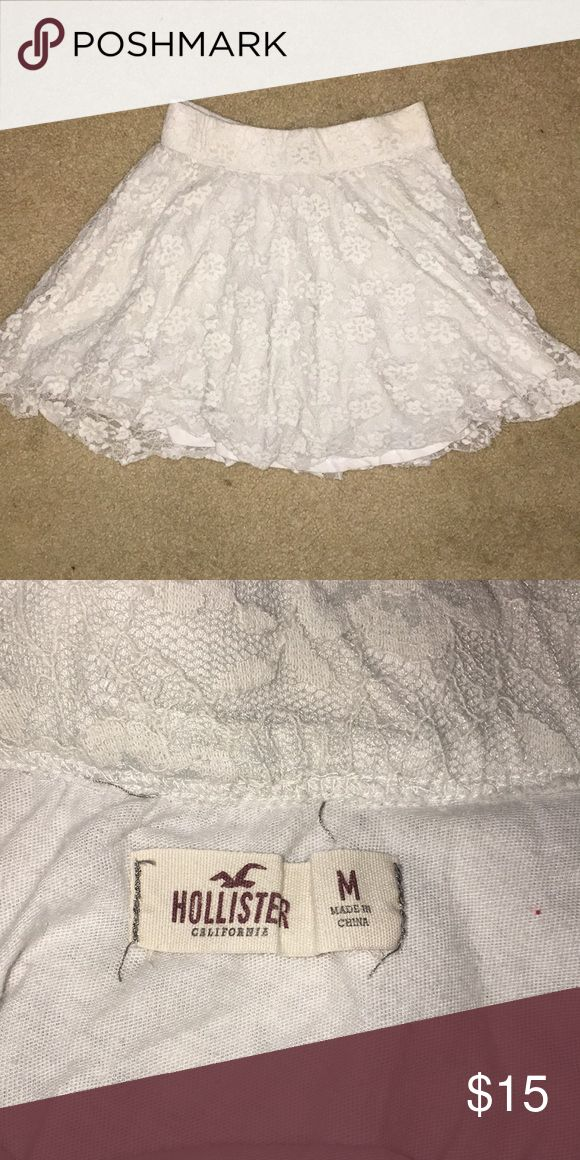 White Hollister Skirt A medium white lacey a-line skirt. has been worn, not much. pairs well with fitted shirts, and looks nice with most colors. can be styled many different ways. Hollister Skirts A-Line or Full