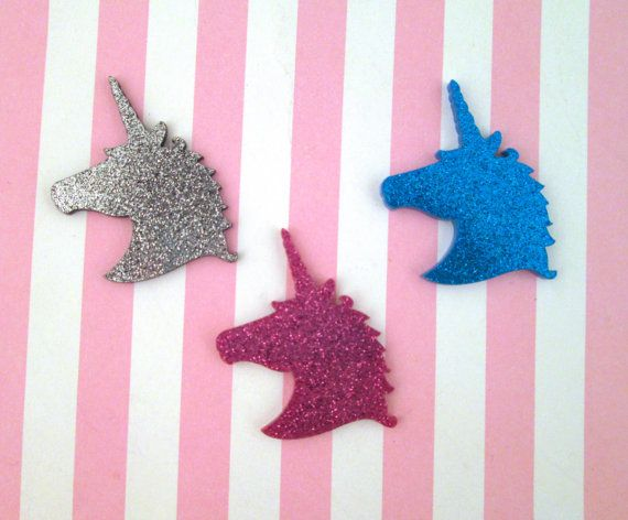 These are fun laser cut glttery Acrylic plexiglass unicorn cabochons. These come in 3 different colors and you will get one of each! They are 34mm x 38mm.  Please note they have a protective layer that you may need to  peel off.  This keeps them from getting sratched when they