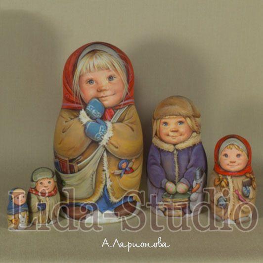 "Nesting dolls of 5pcs. 17 cm. ""Country-Children Going to School"". Artist: A. Larionova. ""Lida-Studio"".   eBay!"