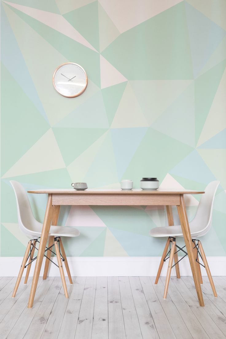 Want to freshen up your interiors? This stylish geometric wallpaper design brings together different tones of mint green to invigorate your home. It's lighthearted and will lift your mood. Perfect for kitchen and dining room areas looking for a splash of colour.