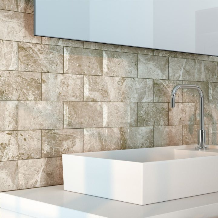 these beige metro tiles have a lovely marble effect and are perfect as beige bathroom tiles