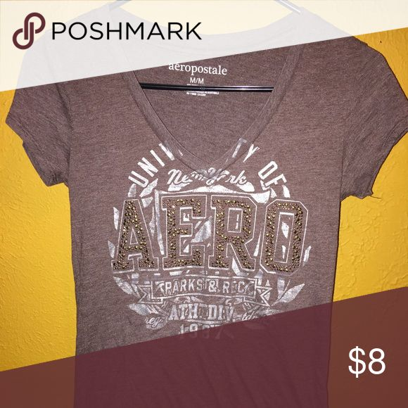 Aeropostale Tee Brown and silver tee! Perfect condition! Aeropostale Tops Tees - Short Sleeve