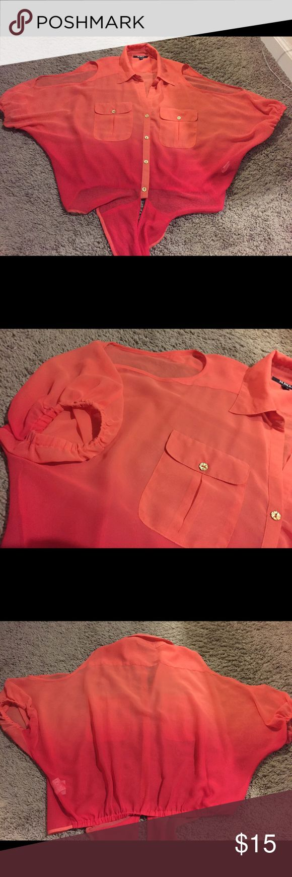 Ombré cold shoulder chiffon blouse Xoxo ombré cold shoulder chiffon/sheer button down blouse. Orange/pink. Size: S great condition. From pet free-smoke free home. XOXO Tops Button Down Shirts