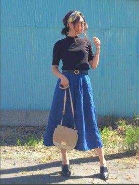 Miiさんの「スキッパー5分マキシシャツ(AZUL by moussy|アズールバイマウジー)」を使ったコーディネート