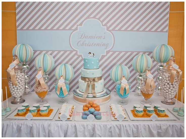 Boy's Christening Dessert Table