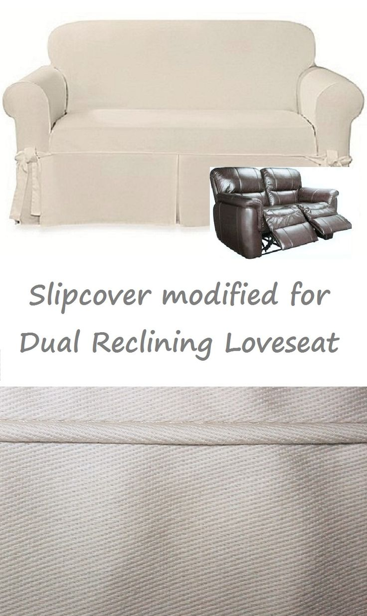 Dual Reclining LOVESEAT Slipcover Farmhouse Twill Cream Adapted for Recliner Love seat
