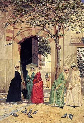 Cami girişindeki Kadınlar / Women in the mosque's entrance ........ Ressam/Painter : Osman Hamdi Bey - Mr. Osman Hamdi