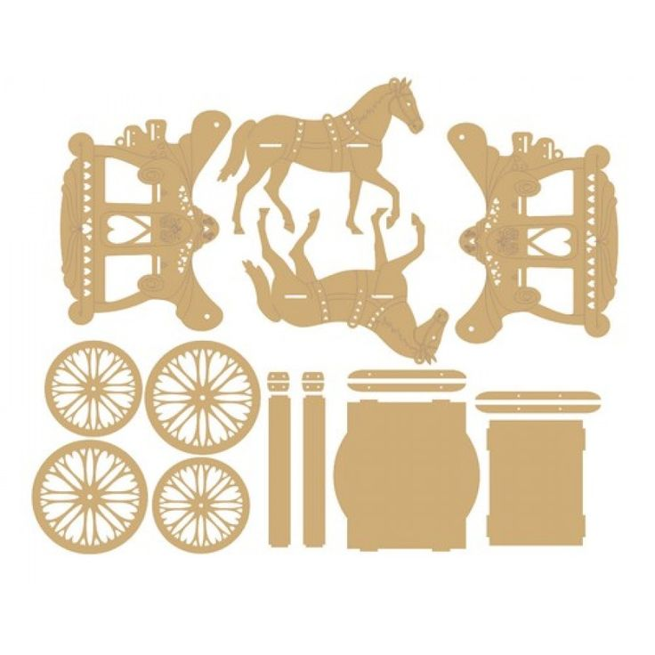 3mm MDF Horse and Carriage 3D Self Assembly Set