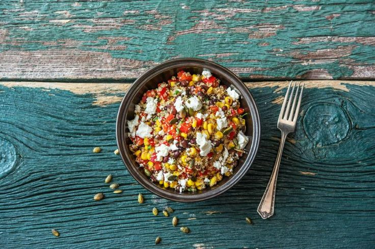 Quinoa may be native to the area around Peru, but the versatile seed can be adapted to suit pretty much any cuisine. Here, we're pairing it with a swirl of Southwestern flavors: black beans, corn, jalapeño, pepitas, and a dressing with cumin and lime. Flavor-wise, it's zesty and citrusy with earthy undertones. Plus, it's packed with protein and vitamin C to help supercharge you through your day.