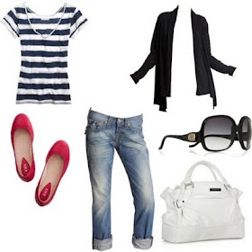 Stripes and red!!! :): Fashion, Summer Outfit, Red Flats, Style, Clothes, Red Shoes, Casual