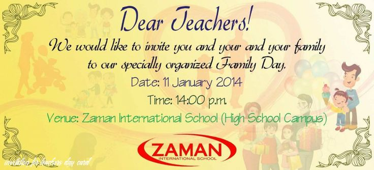 4 Format Invitation Card Sample For Teachers Day With Stunning