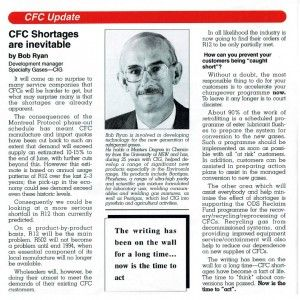 THROWBACK THURSDAY: CFC shortages are inevitable