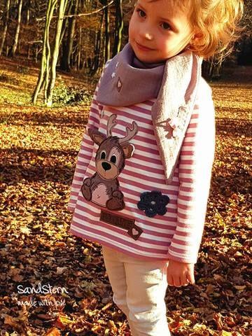 """Applikationsvorlage """"Elchi/Bärli"""" - Tilu Design - Applizieren leicht gemacht - Bär & Elch - Weihnachten - Winter - Applikation kombiniert mit dem Monatsknaller Ringel-Jersey """"White Stripes"""" & Double Gauze/Musselin - Tuch - Shirt - Nähen - eBook & Stoff - Glückpunkt."""
