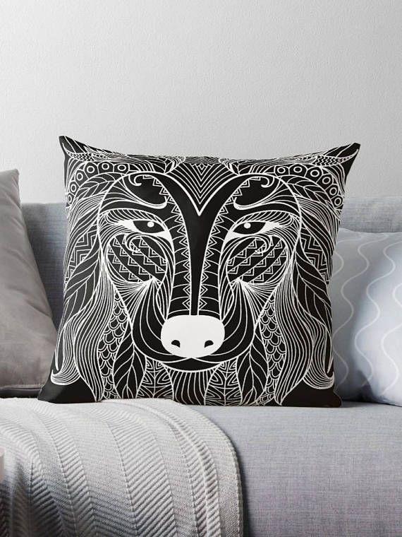Wolf tattoo black cover pillow / pillow design cushion 46