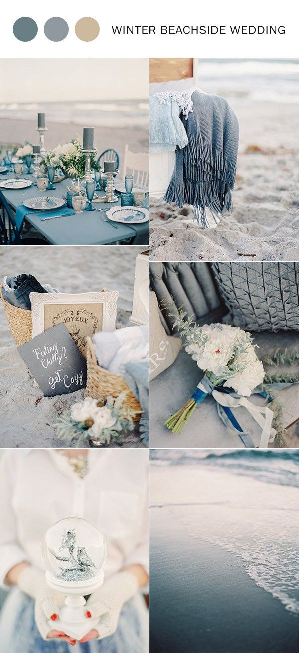 Dusty Blue Winter Beach Wedding Color Ideas With Images Winter