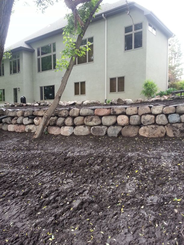 large boulder retaining wall minnesota