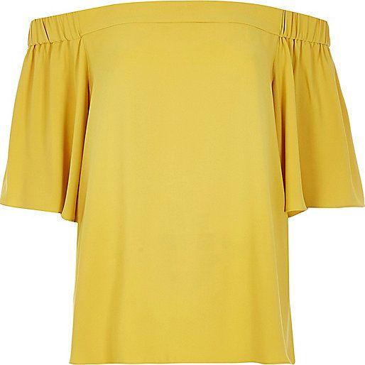 River Island Womens Yellow bardot top