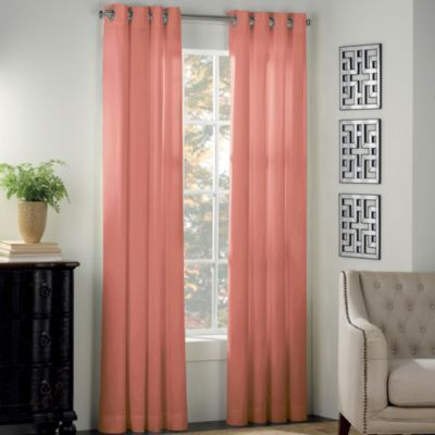 "Newport Grommet Window Curtain Panels - BedBathandBeyond.com This one comes in a pale turquoise called mint, but has 95"" panels."
