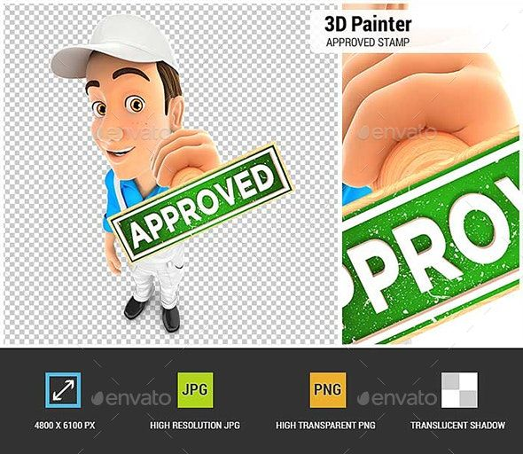 3d Painter Approved Stamp Approved Stamp Business Man Business Card Mock Up