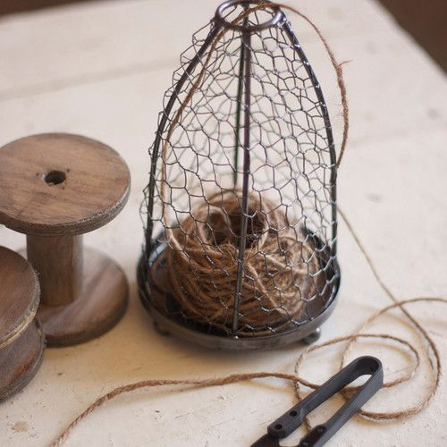 Twine Basket with Spool and Jute eclectic accessories and decor