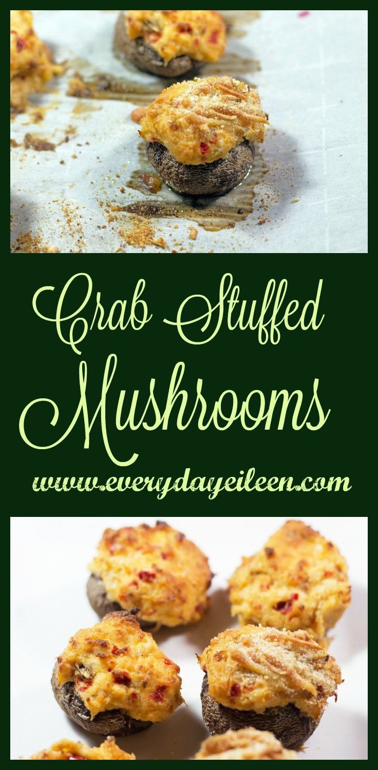 Crab stuffed mushrooms are easy to prepare..Filling is crab meat, low-fat cream cheese, and seasonings, Perfect appetizer for cocktail and Holiday parties! #crab #stuffedmushrooms #crabmushrooms #holidayappetizer #gamedayappetizer #healthyeating #mushrooms #everydayeileen