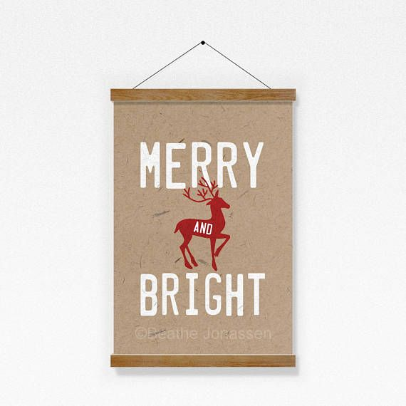 Christmas Print  // Merry and Bright  Print // Instant